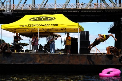 Band Barge at The Big Float, Human Access Project Ringleader Will Levenson